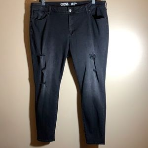 Warehouse One Black Distressed Skinny Jeans